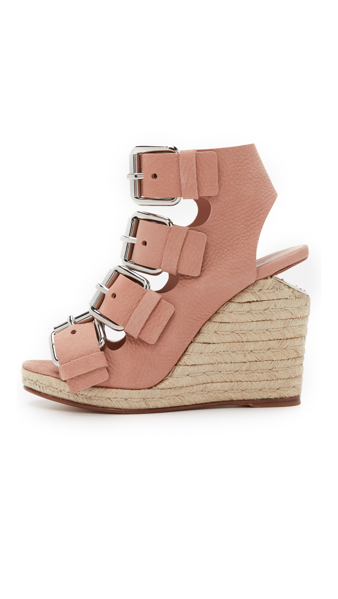 Alexander Wang Jo Buckle Wedge Sandals - Blush